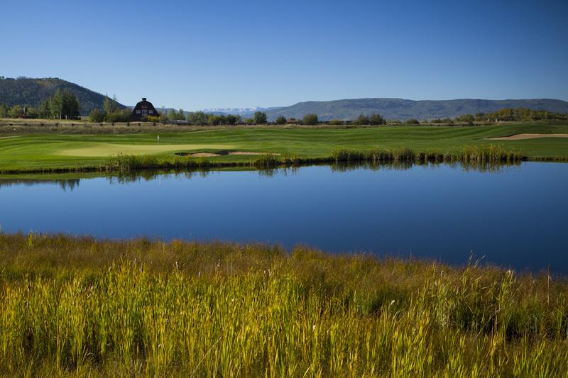 golf pond barn view