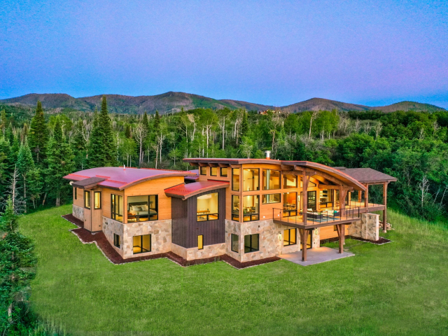 Alpine Mountain Ranch Club June 2020 Lot 18 Twilight Drone Aerial 19 1 scaled 640x480 c - Homesite #18: SUNSET RETREAT - SOLD