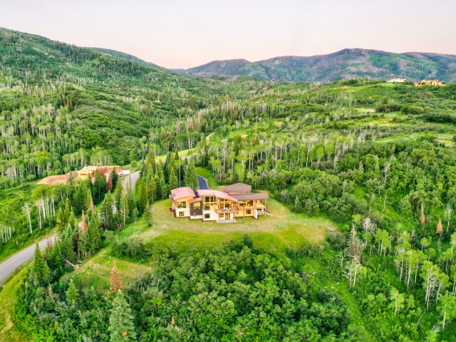 Alpine Mountain Ranch Club June 2020 Lot 18 Twilight Drone Aerial 2 scaled 640x480 c - Homesite #18: SUNSET RETREAT - SOLD