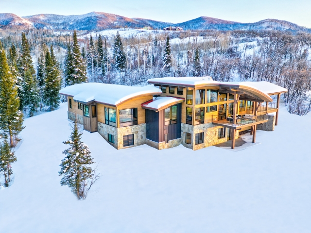 Lot 18 34815 Panorama Dr  Steamboat Springs  CO 80487 December 20  2019 Sunset Drone Aerial 3 640x480 c - Homesite #18: SUNSET RETREAT - SOLD