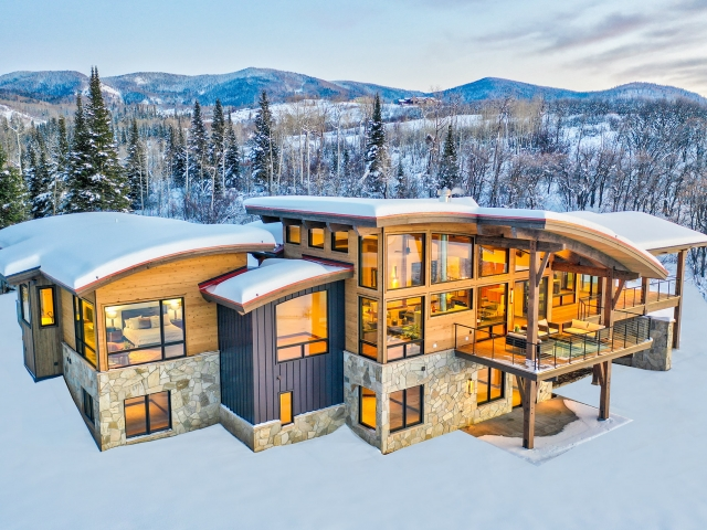 Lot 18 34815 Panorama Dr  Steamboat Springs  CO 80487 December 20  2019 Twilight Drone Aerial 4 640x480 c - Homesite #18: SUNSET RETREAT - SOLD