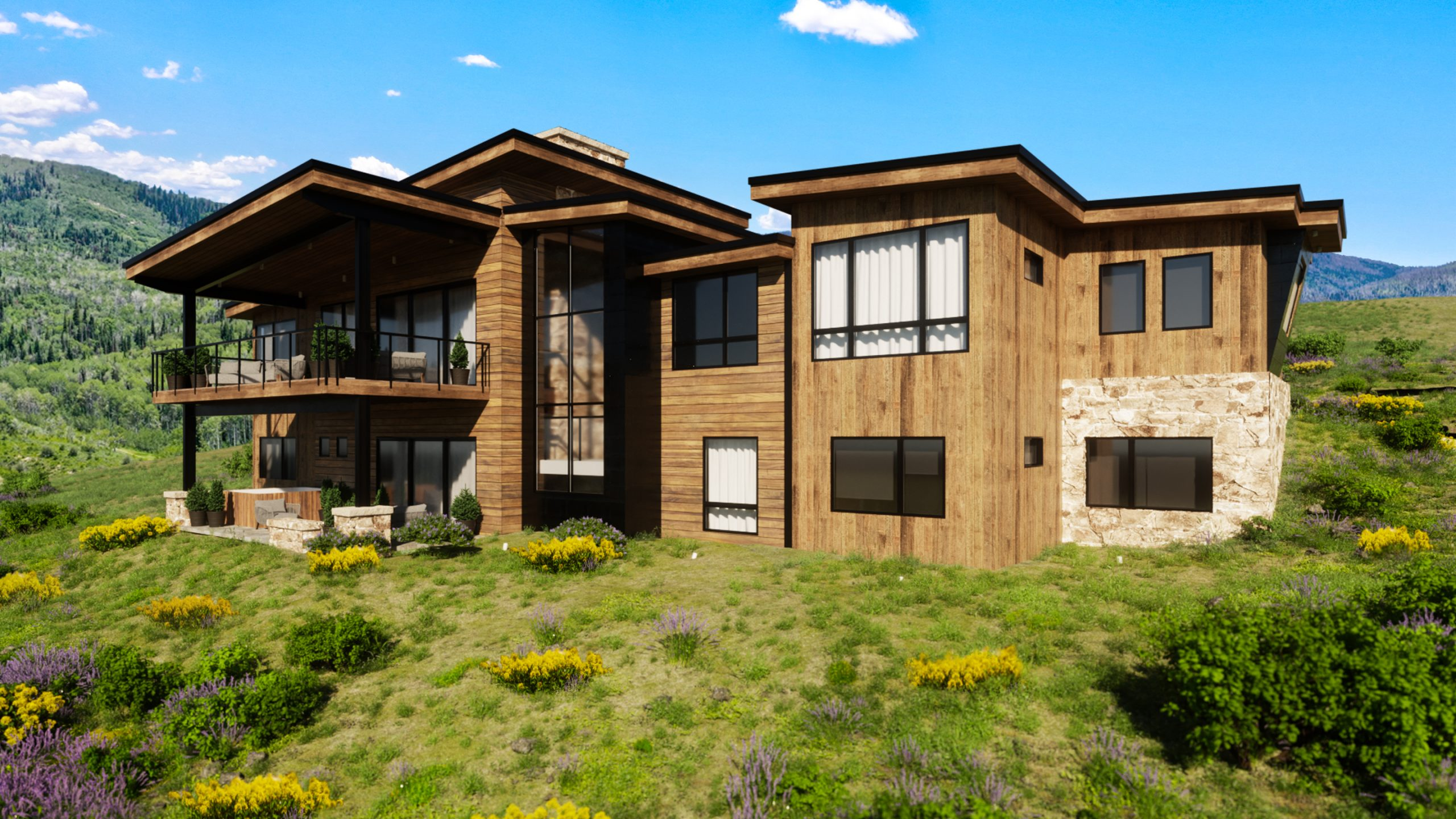 lot 17 rendering 3 scaled - Spring Kicks-Off Active Season of Home Building, Headlined by the Mountain Modern Trilogy Residence